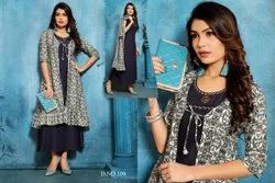 Designer Long Gown With Printed Stylish Jacket