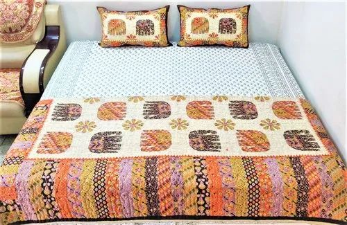Hand Block Print Quilted Bedcover
