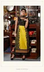 Yellow And Black Casual Ladies Fancy Cotton Kurti, Wash Care: Machine wash