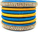 Blue and Golden Silk Thread Bangle Set