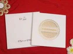 Designer Shaadi Invitation Card for Marriage With Laser Cut Pattern In Ivory Paper
