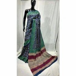 Cotton Printed Party Wear Kalamkari Saree, Length: 6.3 m