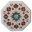 Round White  Marble Inlay Table Top, Pietra Dura Table Top