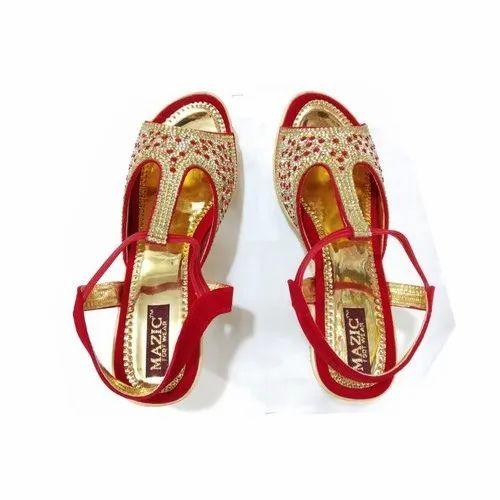 f6c142de79aaa Ladies Red Golden Bridal Sandals