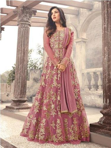 e4917dcf9ff Light Pink Embroidered Net Anarkali Suits