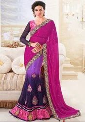 Vibrant Violet Purple And Magenta Lehenga Style Saree