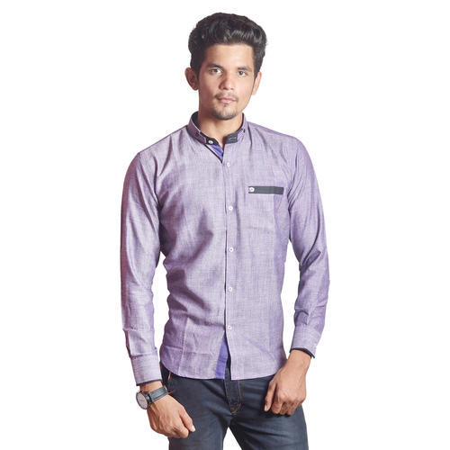 Stand Collar Shirts Designs : Casual plain purple stand collar designer shirt rs unit id