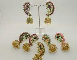 Jaipuri Meena Peacock Jhumki