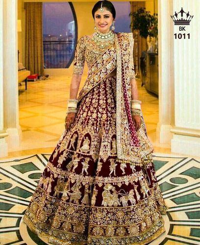 Bangalori Silk Maroon Heavy Embroidered Bridal Lehenga Rs 4999