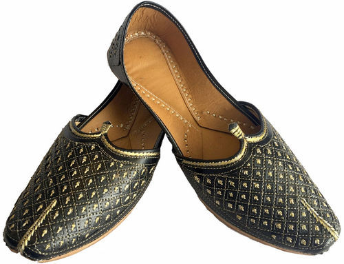 Leather Mens Black Sherwani Shoes