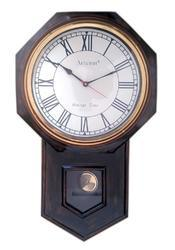 Round Antique Pendulum Wall Clock With Brass Ring