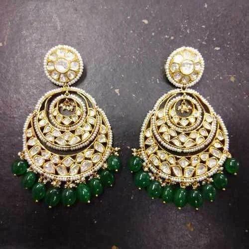 6be0a16ecd20b Gold Jadau Kundan Meena Earring