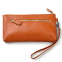 Orange Leather Ladies Wristlet Handbags