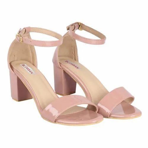 Ladies Light Peach Block Heel Sandal
