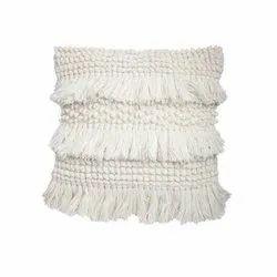 White Woolen Cushion Cover
