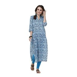 Casual Wear 3/4th Sleeve Ladies Printed Cotton Kurti, Size: S-7XL
