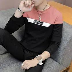 Seven Rocks Cotton Fancy Men Cutting Pattern Design T Shirt, Size: S to XXL