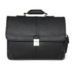 Leather Plain Office Black Bag