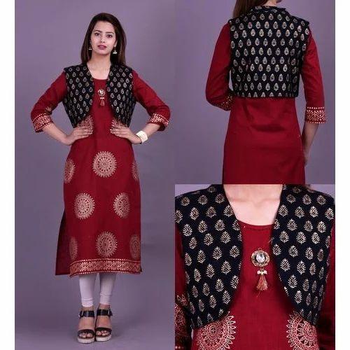 82d32f64e21 S To 5 XL Casual Wear Designer Cotton Jacket Kurti