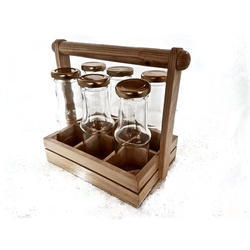 Beverage Glass Bottles with Wooden Rack