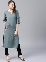 GREY EMBROIDERED STRAIGHT KURTA