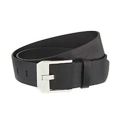 Bullet Mens Black Leather Belt