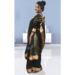 ac93eccb529 Pure Linen Zari Designer Black Saree