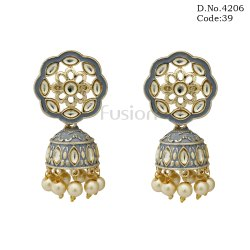 Traditional Meenakari Kundan Jhumka Earrings