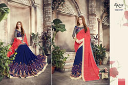 Red-Blue Designer Ladies Sarees