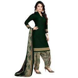 Rajnandini Dark Green Crepe Printed Unstitched Dress Material