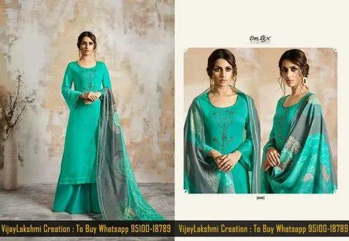65a0782523 Omtex Shaira Cotton Satin Salwar Suits with Dupatta, Cotton Salwar ...