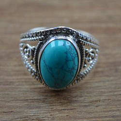 925 Sterling Silver Turquoise Stone Unique Jewelry Ring