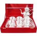 Silver Plated Brass Tea Cup Set With Jar For Wedding Gift
