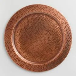 Hammered Copper Antique Charger Plate