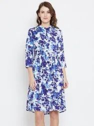 Ladies Printed Rayon Midi Dress