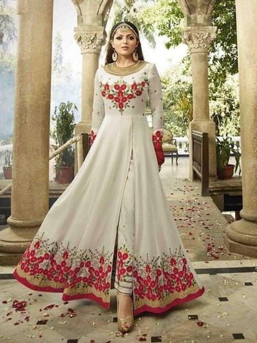 cd0c30791c Georgette Off White & Red Front-Slit Anarkali Suit, Rs 1599 /piece ...
