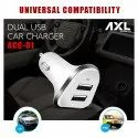 AXL Car Charger ACC-01, Fast Charging, 3.1 Amp Lightning,  White