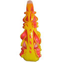6 Inch Pyramid Designer Carved Candle