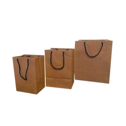 Plain Handled Brown Paper Bag, Capacity: 1-5 Kg