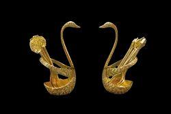 Swan Designer Spoon Fork Set Gold