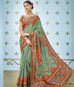 Formal Wear Shree Exports Green Pure Banarasi Silk Printed Saree, With Blouse Piece