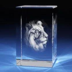 Transparent Laser Engraved Crystal Cube
