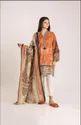 M19420 Orange Unstitched Salwar Suit