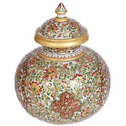 Painted Marble Pot, For Decoration