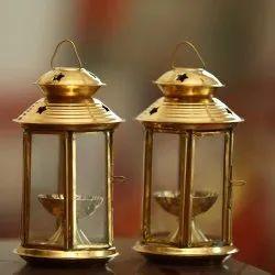 Golden Brass Lantern Akhand Diya