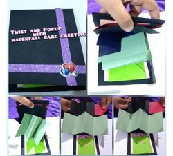 Twist And Popup With Waterfall Card Design