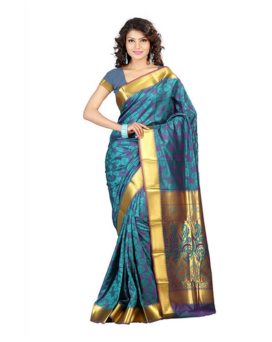 Women's Art Silk Kanchipuram Saree (teal Blue)