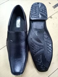 Black PVC Mens Pointed Shoes