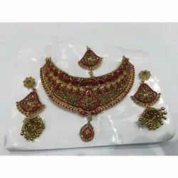 Brass and Copper Wedding Necklace Set, Packaging Type :Packet