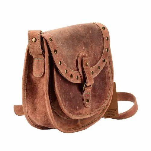 94badc43a853 Handmade Vintage Saddle Style Genuine Top Grain Hunter Leather Women Cross  Body Shoulder Bag